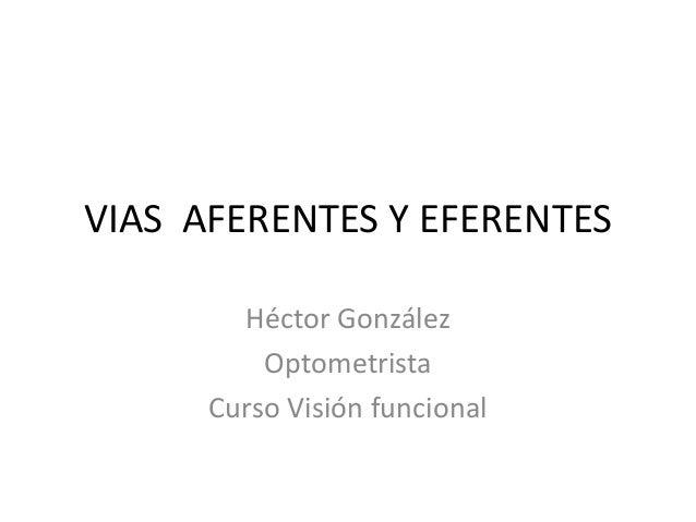 VIAS AFERENTES Y EFERENTES        Héctor González          Optometrista      Curso Visión funcional