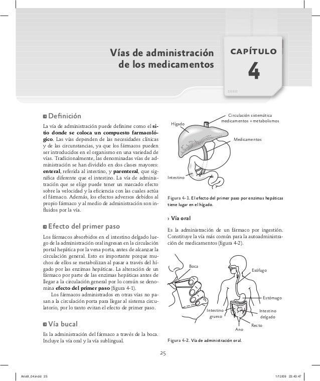 25 Vías de administración de los medicamentos capítulo 4 Definición La vía de administración puede definirse como el si- tio...
