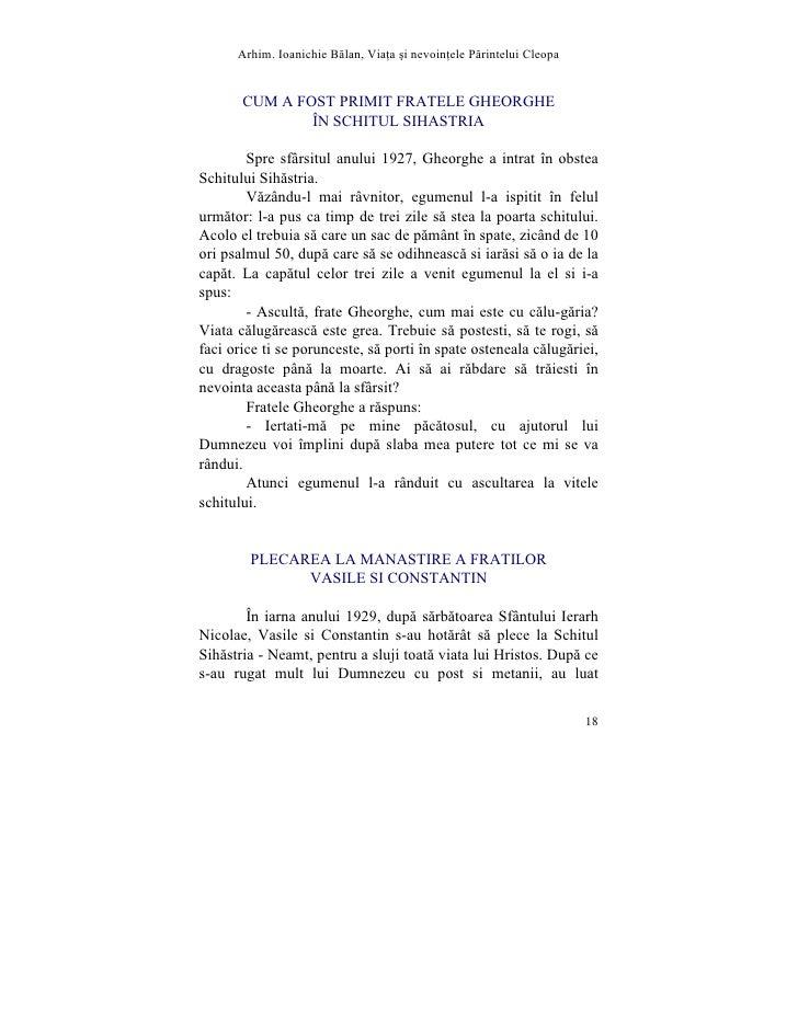 Arhim. Ioanichie Blan, Via]a [i nevoin]ele Printelui Cleopa          CUM A FOST PRIMIT FRATELE GHEORGHE                ÎN ...
