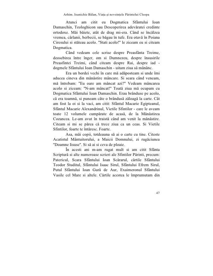 Arhim. Ioanichie Blan, Via]a [i nevoin]ele Printelui Cleopa          Atunci am citit eu Dogmatica Sfântului Ioan Damaschin...