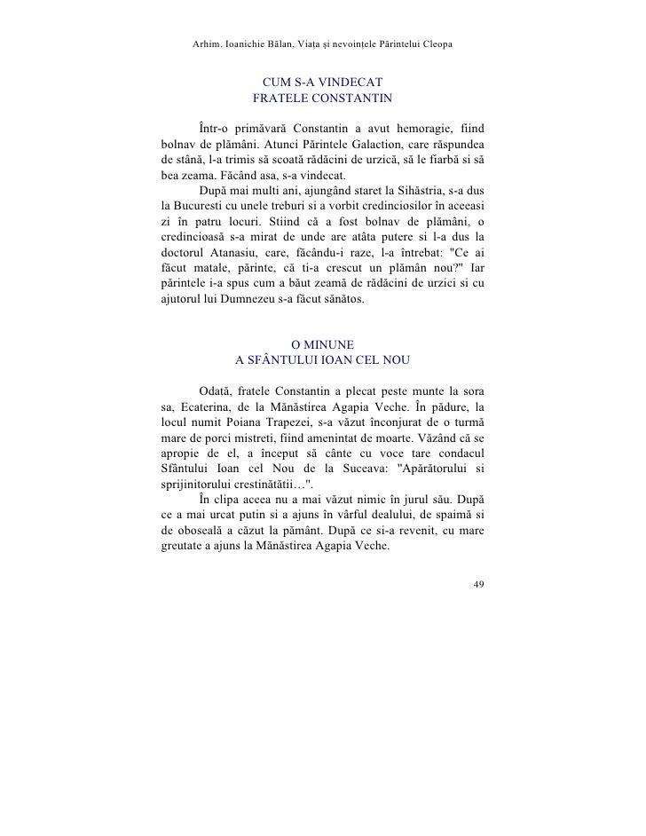 Arhim. Ioanichie Blan, Via]a [i nevoin]ele Printelui Cleopa                        CUM S-A VINDECAT                     FR...