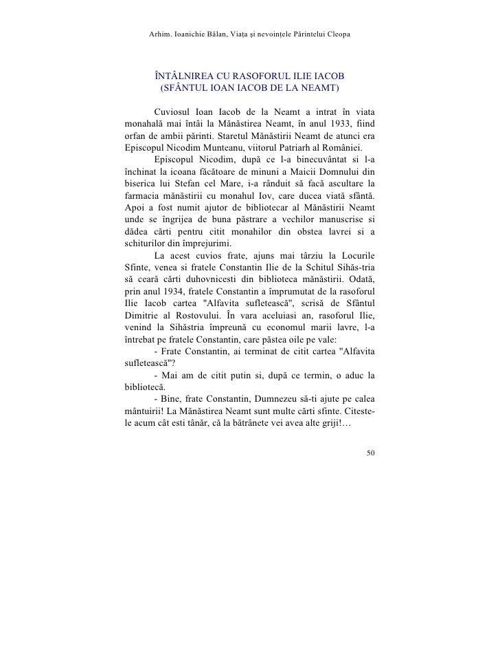 Arhim. Ioanichie Blan, Via]a [i nevoin]ele Printelui Cleopa            ÎNTÂLNIREA CU RASOFORUL ILIE IACOB         (SFÂNTUL...