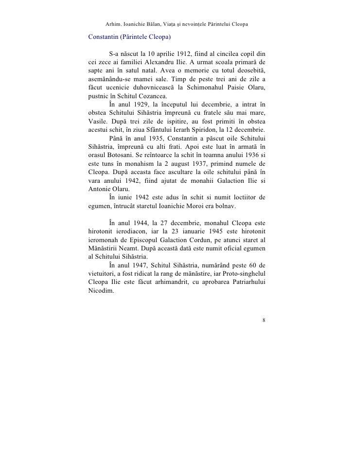 Arhim. Ioanichie Blan, Via]a [i nevoin]ele Printelui Cleopa  Constantin (Pãrintele Cleopa)          S-a nãscut la 10 april...