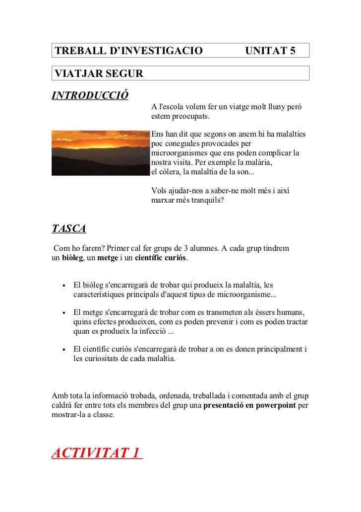 TREBALL D'INVESTIGACIO                                      UNITAT 5VIATJAR SEGURINTRODUCCIÓ                              ...