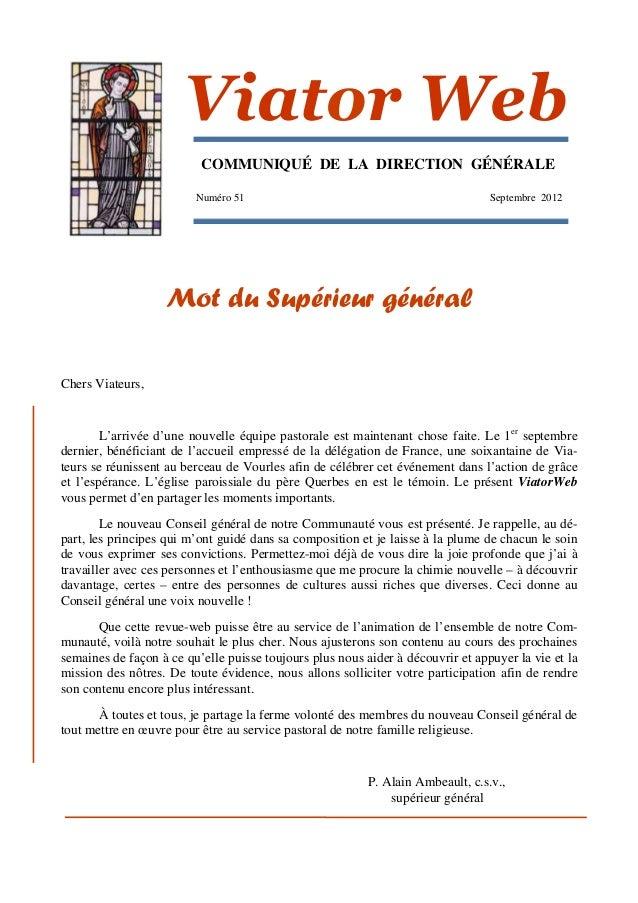 Viator Web                          COMMUNIQUÉ DE LA DIRECTION GÉNÉRALE                         Numéro 51                 ...