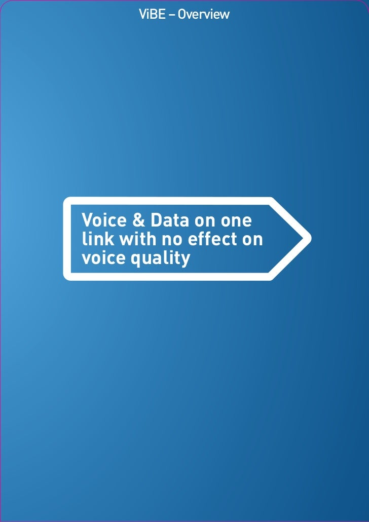 ViBE – OverviewVoice & Data on onelink with no effect onvoice quality