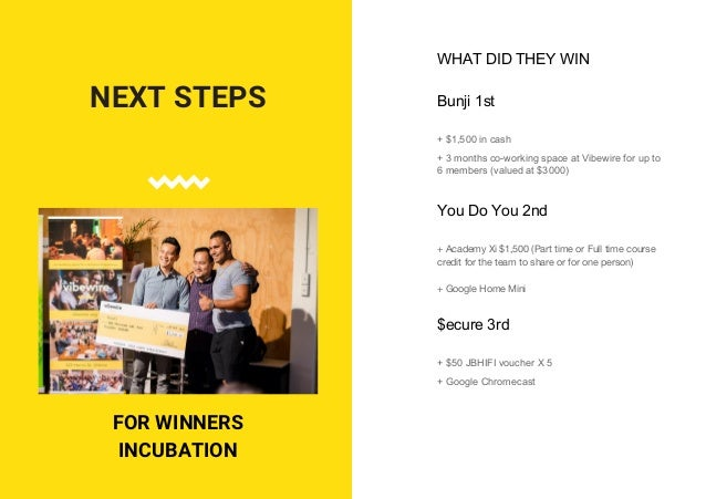 VIBEWIRE Next Steps: Working on a Social Impact Incubator Planning the next hackathon events - Homelessness 2, Employment,...