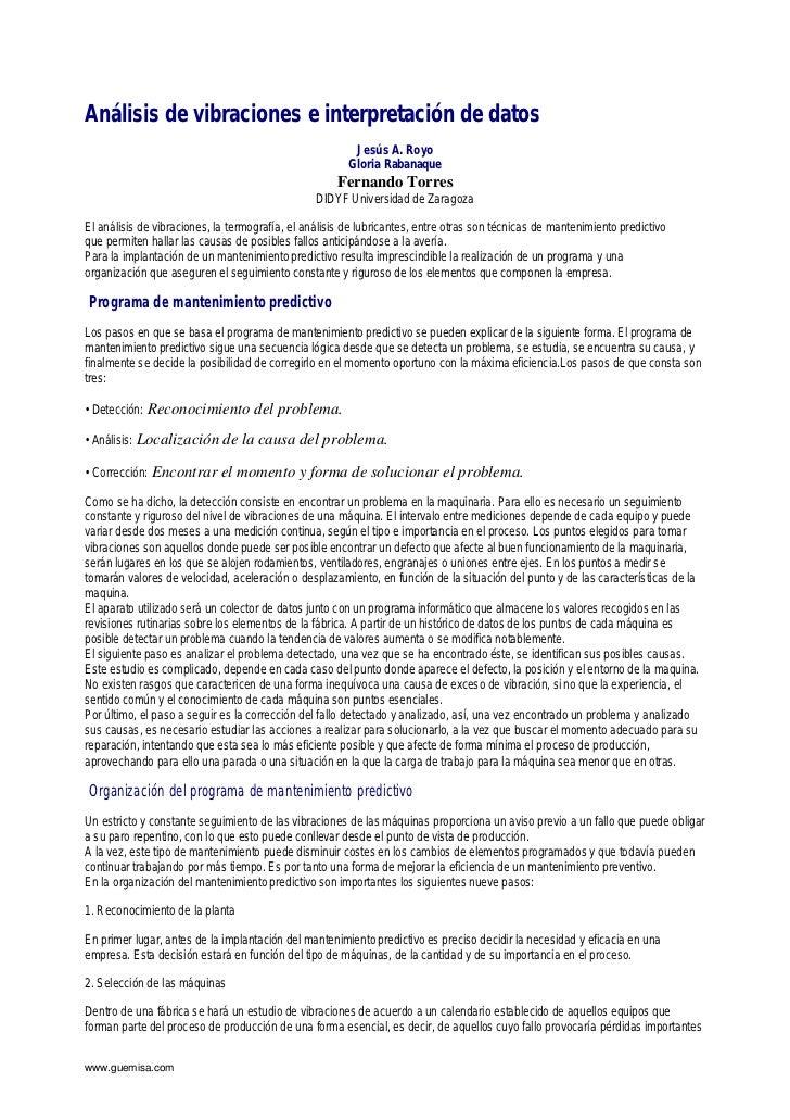 Análisis de vibraciones e interpretación de datos                                                         Jesús A. Royo   ...