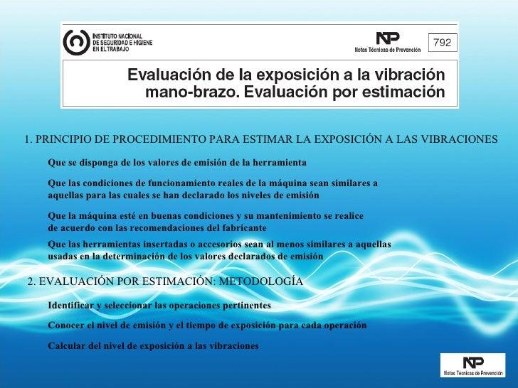 1. PRINCIPIO DE PROCEDIMIENTO PARA ESTIMAR LA EXPOSICIÓN A LAS VIBRACIONES Que se disponga de los valores de emisión de la...