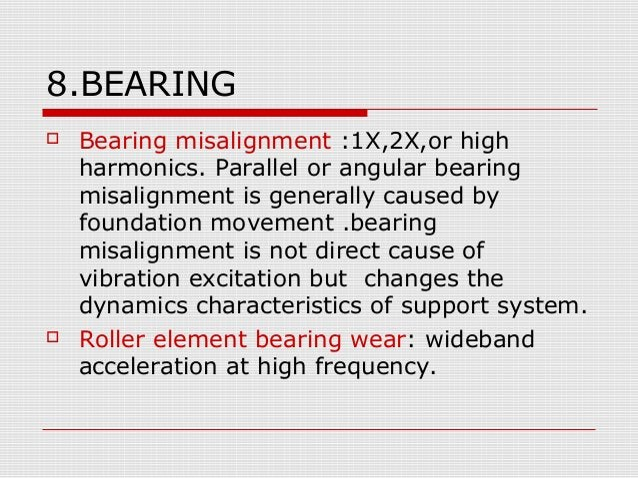 8.BEARING Bearing misalignment :1X,2X,or highharmonics. Parallel or angular bearingmisalignment is generally caused byfou...