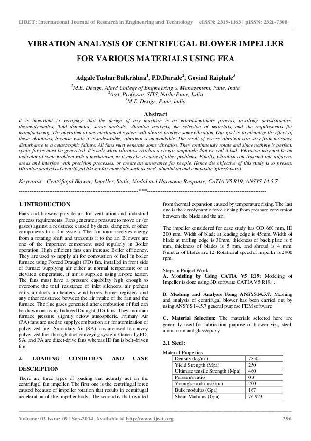Vibration analysis of centrifugal blower impeller for various materia…