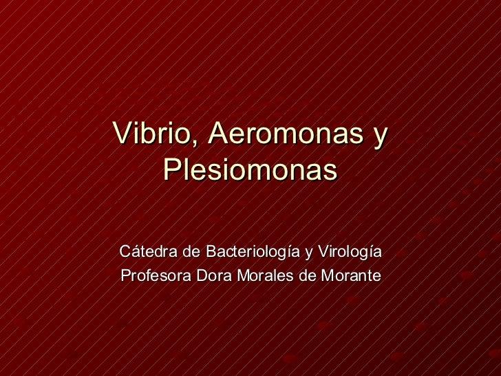 Vibrio, Aeromonas y Plesiomonas Cátedra de Bacteriología y Virología Profesora Dora Morales de Morante