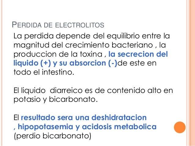 PERDIDA DE ELECTROLITOS La perdida depende del equilibrio entre la magnitud del crecimiento bacteriano , la produccion de ...