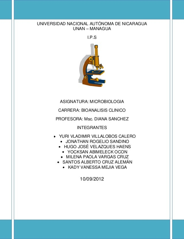 UNIVERSIDAD NACIONAL AUTÓNOMA DE NICARAGUA UNAN – MANAGUA I.P.S ASIGNATURA: MICROBIOLOGIA CARRERA: BIOANALISIS CLINICO PRO...