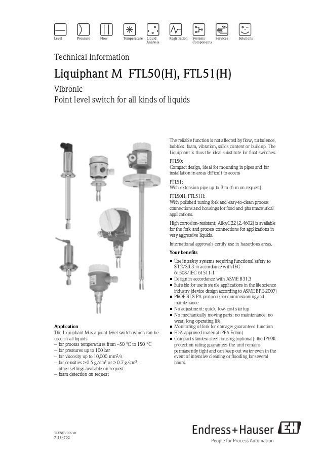 TI328F/00/en71184702Technical InformationLiquiphant M FTL50(H), FTL51(H)VibronicPoint level switch for all kinds of liquid...