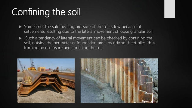 Confining the soil  Sometimes the safe bearing pressure of the soil is low because of settlements resulting due to the la...