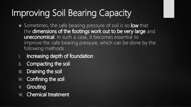 Improving Soil Bearing Capacity  Sometimes, the safe bearing pressure of soil is so low that the dimensions of the footin...