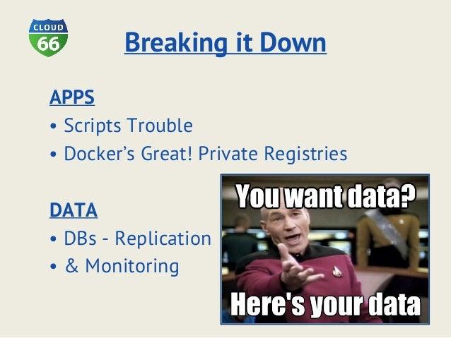 Breaking it Down APPS • Scripts Trouble • Docker's Great! Private Registries DATA • DBs - Replication • & Monitoring