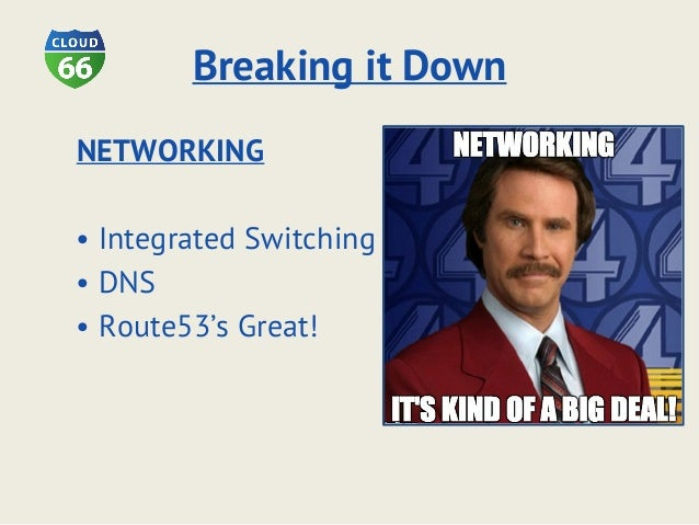 Breaking it Down NETWORKING • Integrated Switching • DNS • Route53's Great!