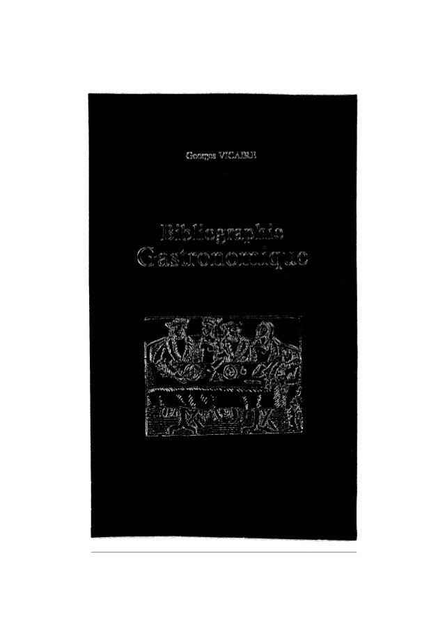 Vicaire georges bibliographie gastronomique