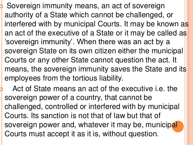 DOCTRINE OF SOVEREIGN IMMUNITY