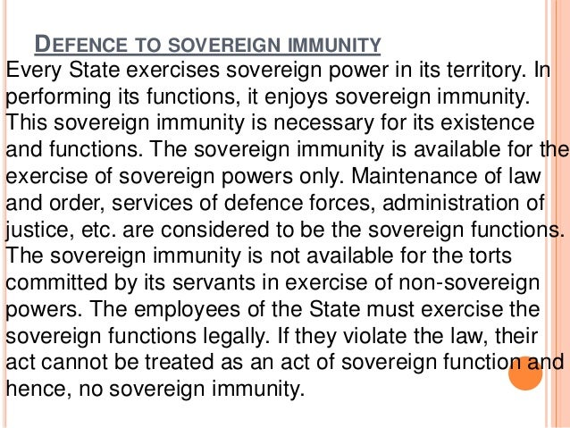 Vicarious liability of state and sovereign immunity