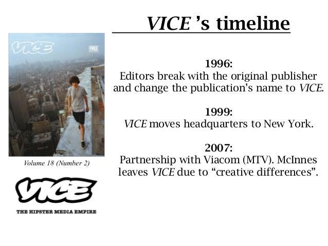 VICE 's timeline                                         1996:                        Editors break with the original publ...