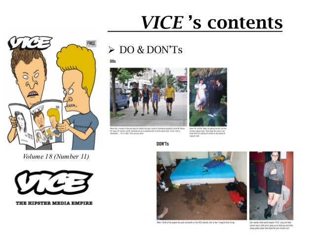 VICE 's contents                        Ø DO & DON'TsVolume 18 (Number 11)