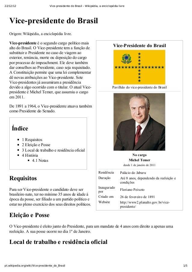 22/12/12                           Vice-presidente do Brasil – Wikipédia, a enciclopédia livre   VicepresidentedoBrasil...