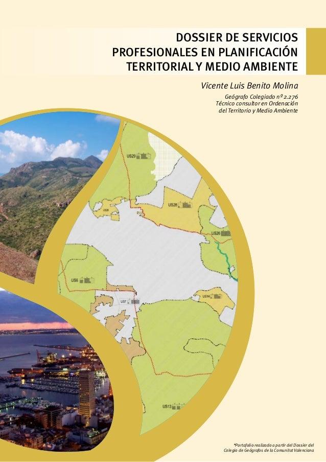 DOSSIER de Servicios Profesionales en Planificación Territorial y Medio Ambiente Vicente Luis Benito Molina Geógrafo Coleg...