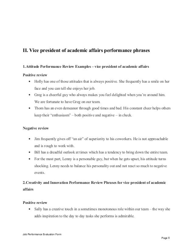 vice president of academic affairs performance appraisal  evaluation form page 7 8