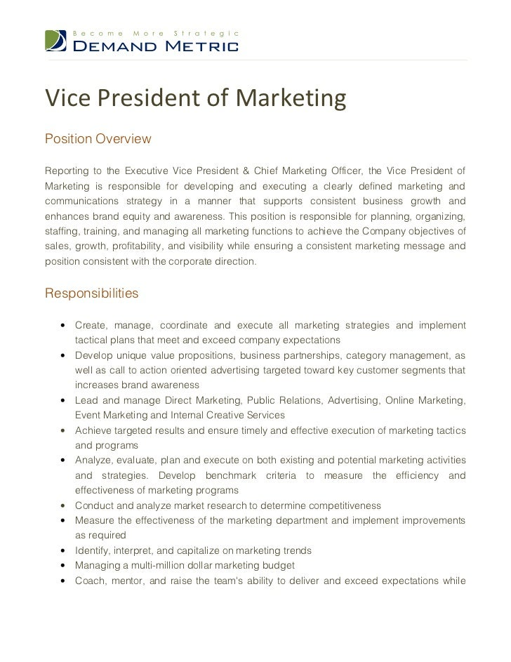 Wonderful Vice President Of MarketingPosition OverviewReporting To The Executive Vice  President U0026 Chief Marketing Officer, ... Design Ideas