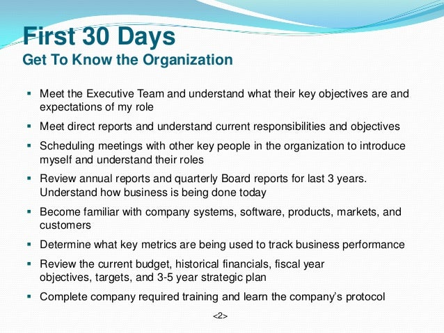 Vice President Supply ChainApril 25, 2013; 2. First 30 ...