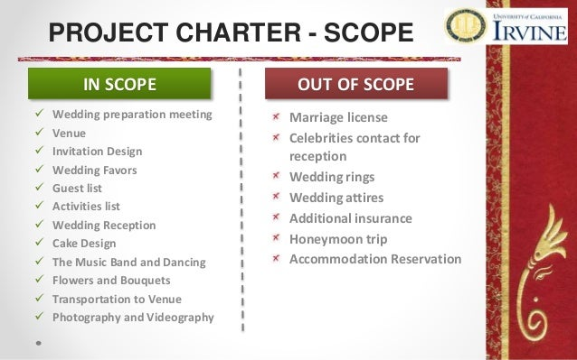 project scope for wedding project
