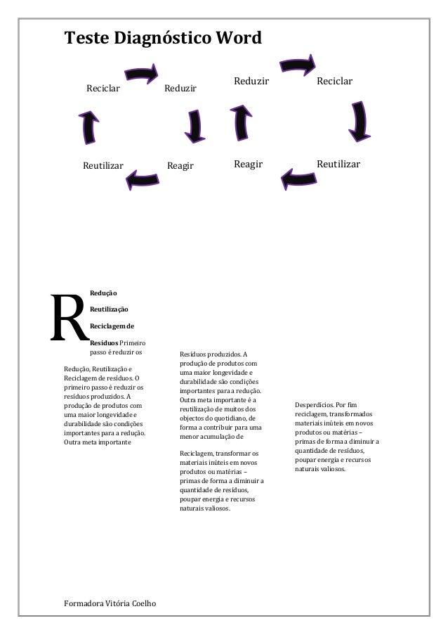 Teste Diagnóstico Word Reciclar  Reduzir  Reutilizar  Reagir  R  Reduzir  Reciclar  Reagir  Reutilizar  Redução Reutilizaç...