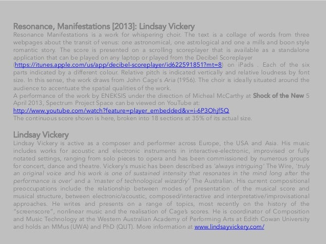Resonance, Manifestations [2013]: Lindsay Vickery Resonance Manifestations is a work for whispering choir. The text is a c...