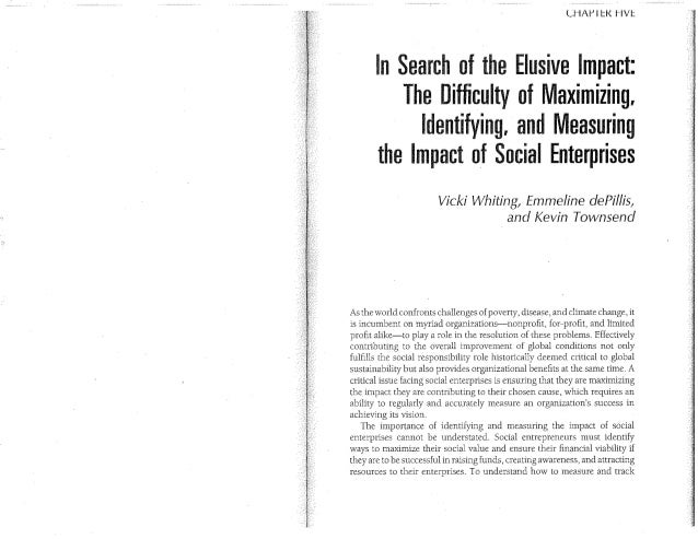 Identifying and Measuring the Impact of Social Enterprises