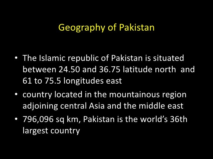 where is pakistan located geographically