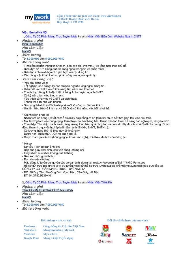 Cổng Thông tin Việc làm Việt Nam | www.mywork.vn Số 88/203 Hoàng Quốc Việt, Hà Nội Điện thoại: 6 293 9998 Kết nối mywork.v...