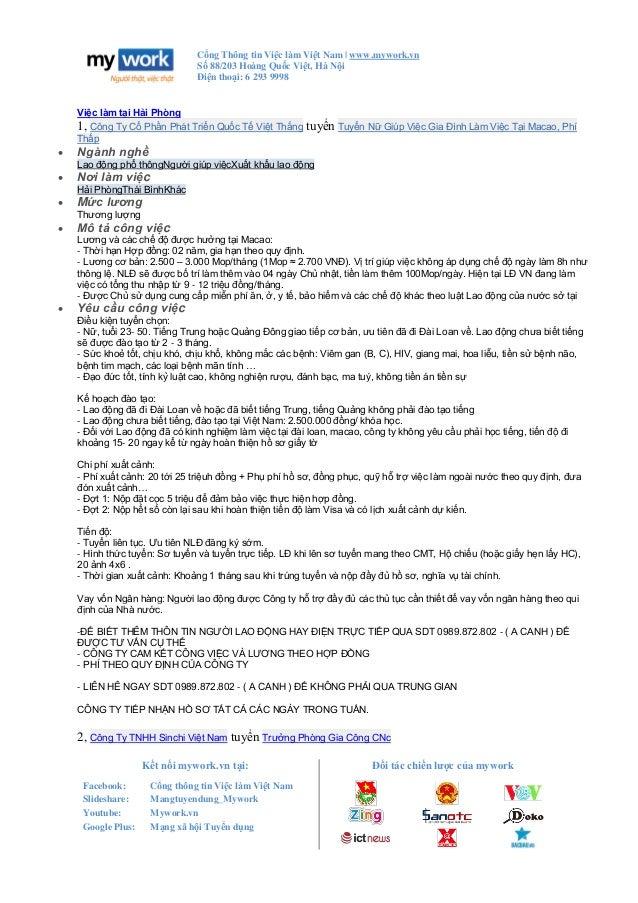 Cổng Thông tin Việc làm Việt Nam   www.mywork.vn Số 88/203 Hoàng Quốc Việt, Hà Nội Điện thoại: 6 293 9998 Kết nối mywork.v...