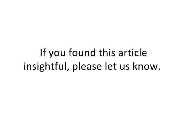 If you found this article insightful, please let us know.