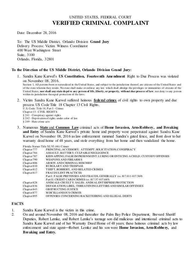 Verified Criminal Complaint to US Middle District, Orlando Division G…