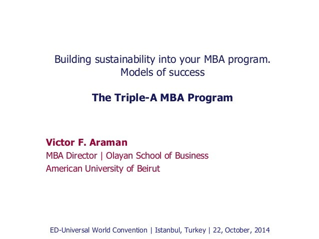 Building sustainability into your MBA program.  Models of success  The Triple-A MBA Program  Victor F. Araman  MBA Directo...