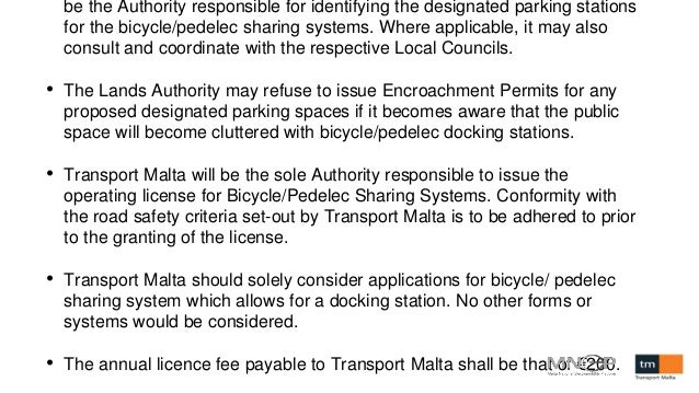 be the Authority responsible for identifying the designated parking stations for the bicycle/pedelec sharing systems. Wher...
