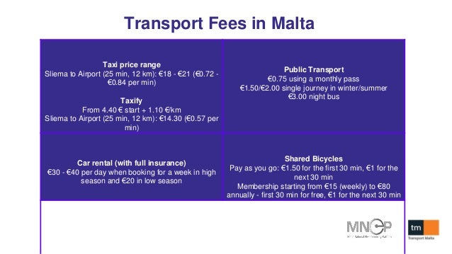 Transport Fees in Malta Taxi price range Sliema to Airport (25 min, 12 km): €18 - €21 (€0.72 - €0.84 per min) Taxify From ...