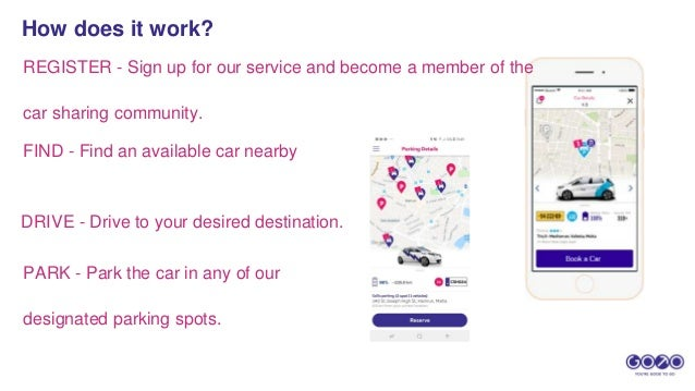 REGISTER - Sign up for our service and become a member of the car sharing community. FIND - Find an available car nearby D...
