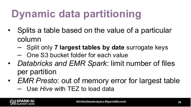 Dynamic data partitioning • Splits a table based on the value of a particular column – Split only 7 largest tables by date...