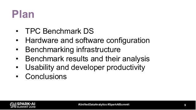 Plan • TPC Benchmark DS • Hardware and software configuration • Benchmarking infrastructure • Benchmark results and their ...