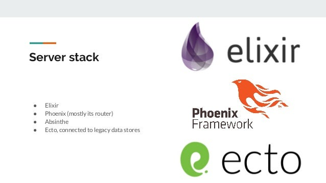 Server stack ● Elixir ● Phoenix (mostly its router) ● Absinthe ● Ecto, connected to legacy data stores
