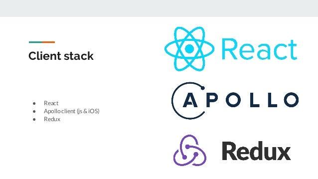 Client stack ● React ● Apollo client (js & iOS) ● Redux
